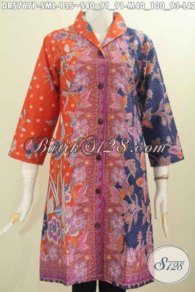 Batik Dress Kerah Langsung Asli Dari Solo, Pakaian Batik Elegan Untuk Wanita Tampil Gaya Dan Mempesona, Size M