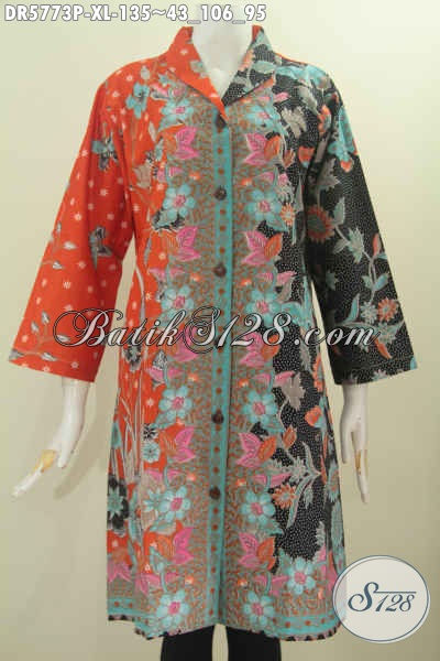 Busana Dress Batik Kekinian, Pakaian Batik Kerah Langsung Motif Pagi Sore Bahan Halus Proses Printing Tampil Cantik Dan Trendy [DR5773P-XL]