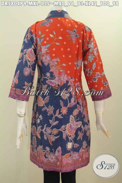 Baju Keren Untuk Wanita Karir, Dress Batik Pagi Sore Nan Istimewa Buatan Solo Motif Berkelas Proses Printing Tampil Modis Dan Mempesona [DR5804P-M]