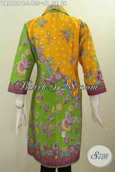 Batik Dress Wanita Dewasa, Baju Batik Pagi Sore Dengan Kombinasi Warna Dan Motif Mewah Proses Printing Untuk Tampil Berkelas Dan Modis [DR5809P-L]