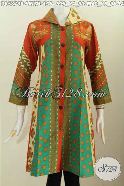 Produk Baju Batik Terkini, Dress Batik Kerah Kotak Motif Sinaran Proses Printing Untuk Tampil Gaya Dan Berkelas [DR5879P-M]