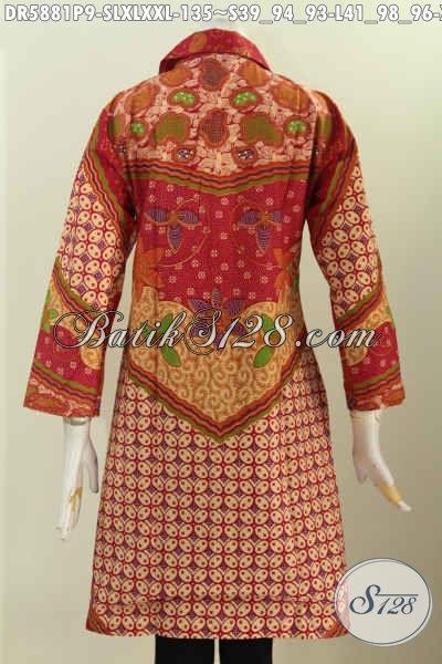 Dress Kerah Kotak Merah, Pakaian Batik Elegan Halus Proses Printing Bahan Adem Motif Klasik Sinaran Untuk Penampilan Lebih Elegan [DR5881P-L]