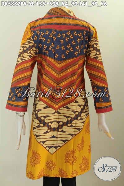 Dress Batik Halus Model Kerah Kotak Motif Klasik Nan Elegan, Baju Batik Printing Solo Cewek Tampil Anggun Mempesona [DR5882P-S]