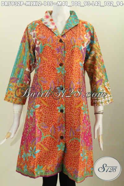 Batik Dress Kerah Langsung, Berbahan Halus Motif Mewah Asli Buatan Solo Untuk Penampilan Lebih Istimewa [DR5932P-M]