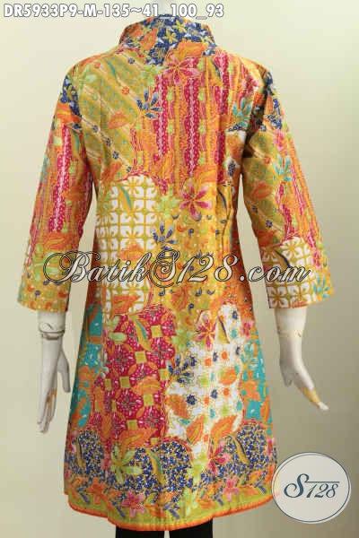 Jual Busana Batik Wanita Terkini, Baju Batik Elegan Berkelas Bahan Halus Motif Terkini Proses Printing Hanya 135K [DR5933P-M]