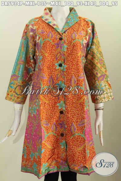 Baju Dress Batik Kerah Langsung Modern Dan Elegan Bahan Adem Proses Printing Tampil Lebih Anggun Menawan, Size XL