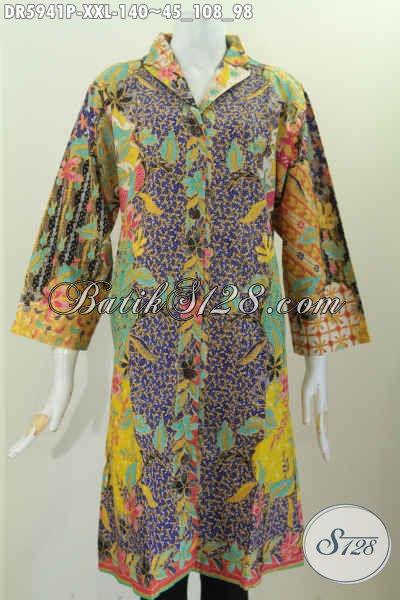 Baju Dress Istimewa Kerah Langsung Spesial Untuk Wanita Gemuk, Baju Batik Berkelas Proses Printing Harga 135K Cocok Untuk Kerja, Size XXL
