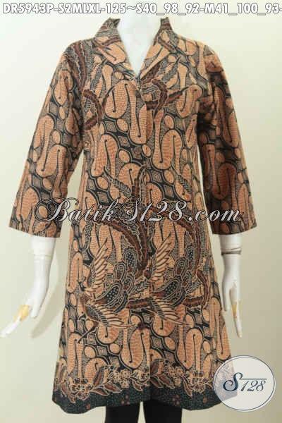 Dres Batik Elegan Klasik Bahan Halus Adem Nyaman Di Pakai, Pakaian Batik Kerah Langsung Proses Printing Buatan Solo Harga Terjangkau [DR5943P-S]