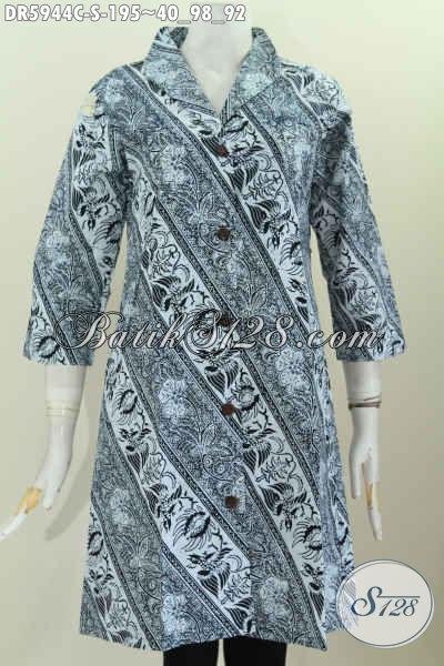 Baju Dress Batik Solo Halus Dan Berkelas, Pakaian Batik Motif Mewah Proses Cap Bahan Adem Kwalitas Istimewa Model Kerah Langsung Hanya 195K [DR5944C-S]