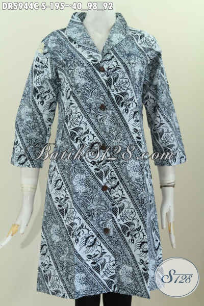 Model Baju Batik Wanita 2017, Dress Batik Istimewa Motif Mewah Proses Cap Desain Kerah Langsung Motif Proses Cap, Size S