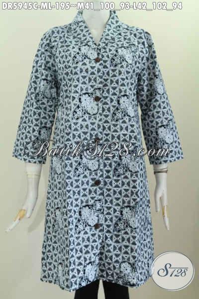 Dress Kerah Langsung, Baju Batik Atasan Model Terusan Untuk Wanita Muda Dan Dewasa Kwalitas Premium Proses Cap, Size M – L