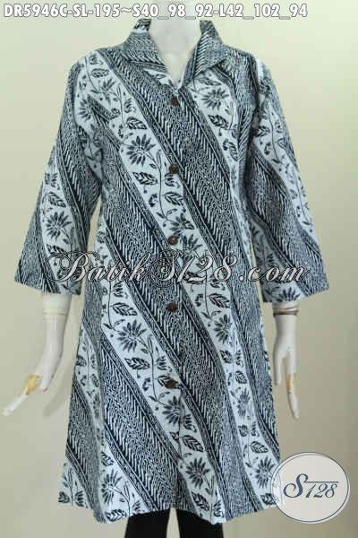 Baju Dress Batik Parang Bunga, Pakaian Batik Solo Halus Kerah Langsung Kwalitas Premium Proses Cap Untuk Penampilan Lebih Mewah [DR5946C-L]