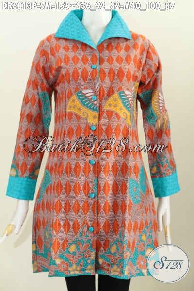 Dress Batik Halus Motif Terbaru Desain Keren Bahan Adem Kombinasi Embos Asli Buatan Solo, Bikin Wanita Tampil Mempesona, Size S – M