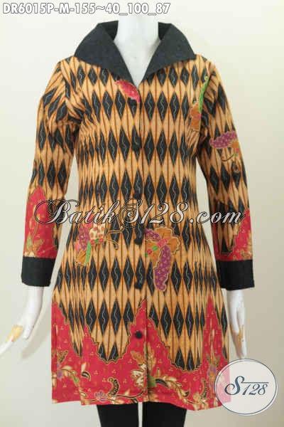 Dress Batik Desain Mewah, Baju Batik Wanita Terkini Bahan Halus Kombinasi Kain Emboss Motif Elegan Harga 135K [DR6015P-M]