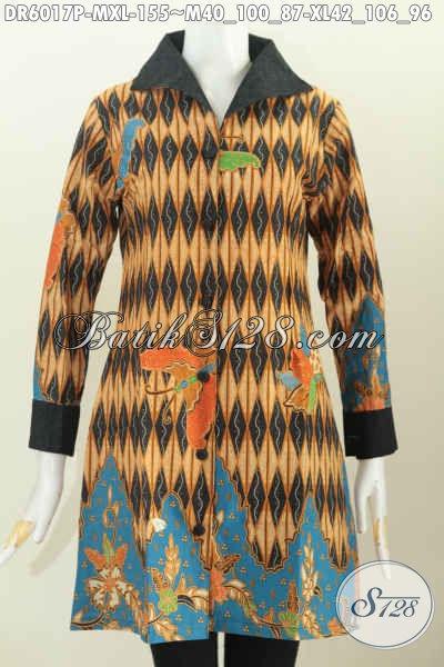 Dress Batik Halus Motif Mewah Proses Printing Bahan Kombinasi Katun Dan Embos Untuk Seragam Kerja Dan Acara Resmi, Size M