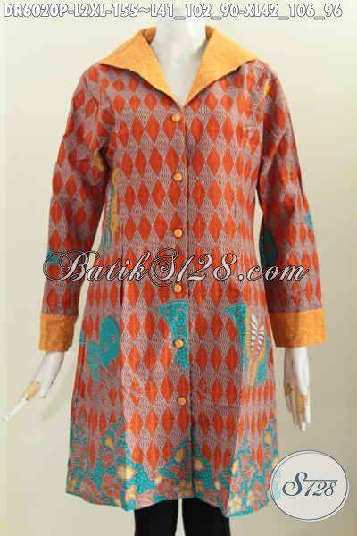 Batik Dress Halus Bahan Kombinasi Embos, Baju Batik Istimewa Proses Printing Desain Mewah Untuk Tampil Lebih Percaya Diri, Size L