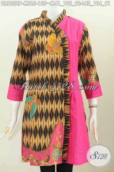 Jual Online Baju Dress Batik Modern Desain Mewah Untuk Wanita Tampil Makin Mempesona, Size L