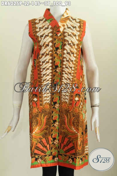 Baju Batik Gaul Wanita Terbaru, Dress Batik Trendy Tanpa Lengan Motif Klasik Proses Printing Hanya 145K, Size L