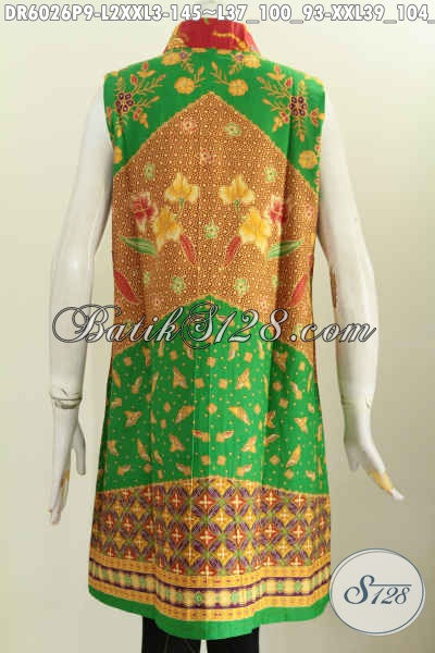 Batik Dress Trendy Model Tanpa Lengan, Baju Batik Motif Klasik Proses Printing, Keren Di Padukan Kaos Lengan Panjang, Size L – XXL