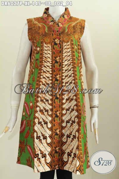 Baju Dress Batik Klasik, Pakaian Batik Modern Nan Berkelas, Baju Batik Elegan Mewah Halus, Di Jual Online 135K Model Tanpa Lengan Motif Klasik [DR6027P-XL]
