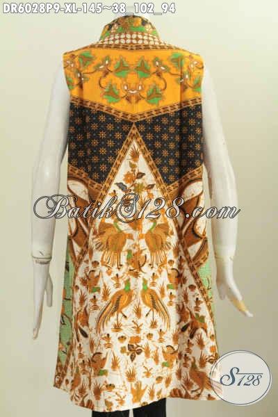 Jual Baju Batik Dress Modern Masa Kini Model Tanpa Lengan, Pakaian Batik Modis Halus Buatan Solo Untuk Tampil Lebih Gaya Dan Mempesona Proses Printing Asli Buatan Solo [DR6028P-XL]