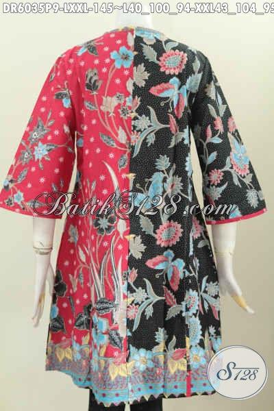 Baju Batik Kombinasi Merah Hitam Motif Keren Model Klok Pakai Resleting Belakang, Baju Batik Printing Harga 145K Untuk Tampil Istimewa [DR6035P-L]