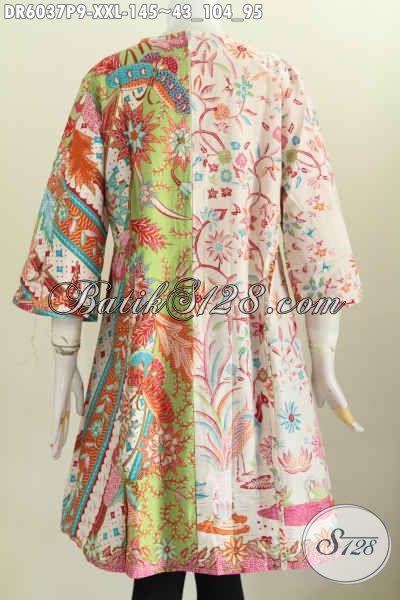 Dress Batik Wanita Gemuk, Pakaian Batik Ukuran 3L Model Klok Pakai Resleting Belakang Bahan Adem Motif Mewah Proses Printing Hanya 145K [DR6037P-XXL]
