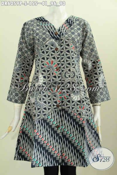 Baju Dress Batik Lawasan Kombinasi Tiga Motif, Baju Batik Wanita Masa Kini Berbahan Halus Proses Printing Di Jual Online 155K [DR6059P-S]