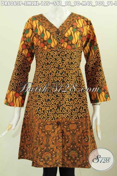 Busana Batik Dress Istimewa Kombinasi Tiga Motif Klasik, Pakaian Batik Model Terkini Untuk Wanita Terlihat Anggun Dan Mempesona Proses Printing [DR6063P-S]