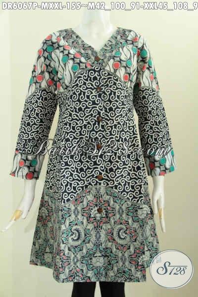 Baju Batik Tiga Motif, Busana Batik Dress 3L Spesial Untuk Wanita Gemuk Tampil Gaya Dan Mempesona Harga 155K, Size XXL