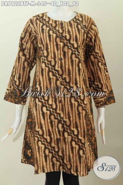 Baju Dress Batik Klasik Kombinasi Dua Motif Model Tanpa