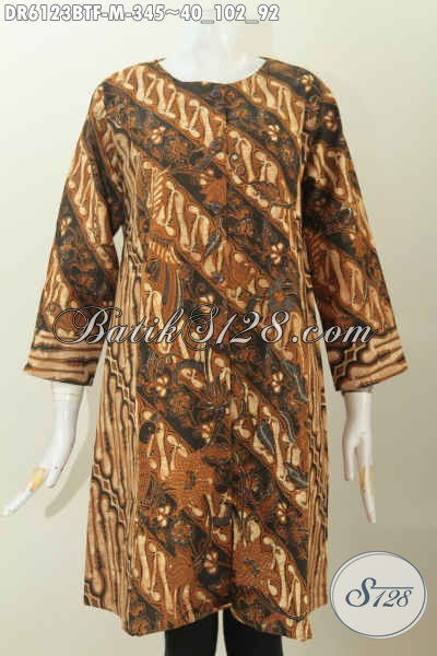 Jual Baju Dress Klasik Dual Motif Kombinasi Tulis Bahan Halus Desain Tanpa Krah, Elegan Untuk Acara Formal, Size M