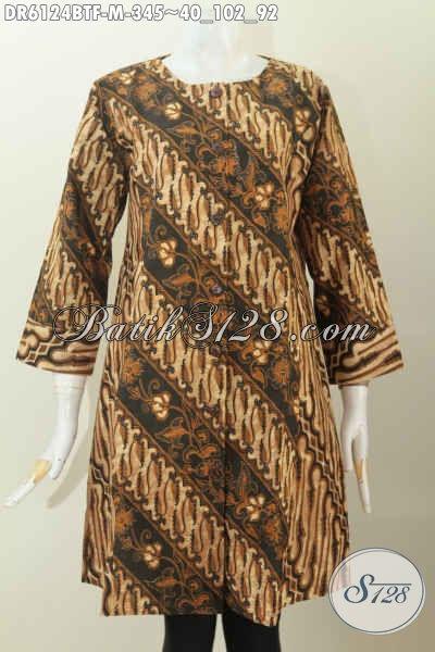 Baju Batik Dress Kwalitas Premium Proses Kombinasi Tulis, Baju Batik Dual Motif Tanpa Kerah Cocok Buat Kerja Kantoran, Size M