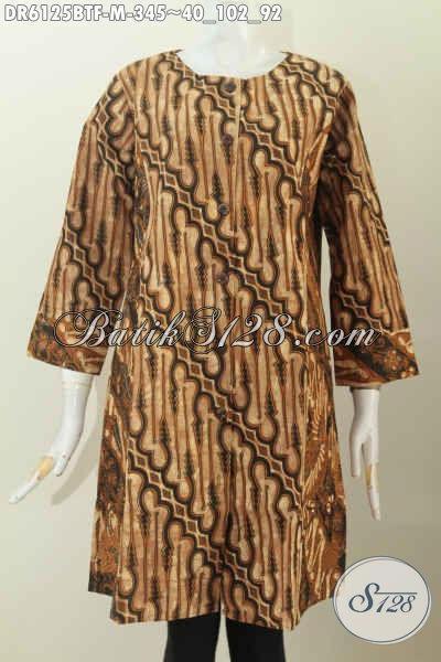 Baju Dress Elegan Dan Istimewa, Pakaian Batik Full Furing Istimewa Buatan Solo Dengan Dual Motif Klasik Tampil Lebih Berkelas, Size M