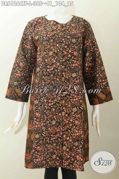 Jual Online Dress Batik 2 Motif Kwalitas Premium Daleman Pake Furing Proses Cap Tulis Model Tanpa Krah Harga 385K [DR6126CTF-L]