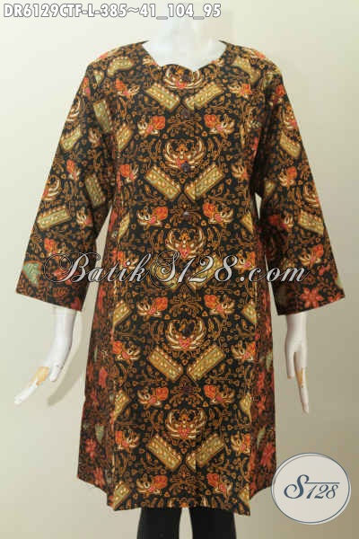 Sedia Pakaian Batik Halus Khas Jawa Tengah, Baju Dress Batik Terkini Dengan Dual Motif Model Tanpa Krah Bahan Adem Proses Cap Tulis, Elegan Buat Acara Spesial [DR6129CTF-L]