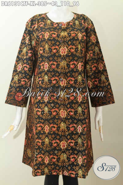 Batik Dress Wanita Dewasa, Baju Batik Ukuran XL Model Tanpa Kerah Dengan Kombinasi 2 Motif Dalema Full Furing Harga 385 Ribu [DR6131CTF-XL]