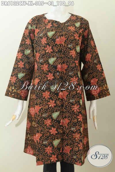 Dress Batik Model Terbaru, Baju Batik Dual Motif Bahan Halus Kwalitas Istimewa Untuk Wanita Dewasa Daleman Full Furing Tampil Makin Percaya Diri [DR6132CTF-XL]