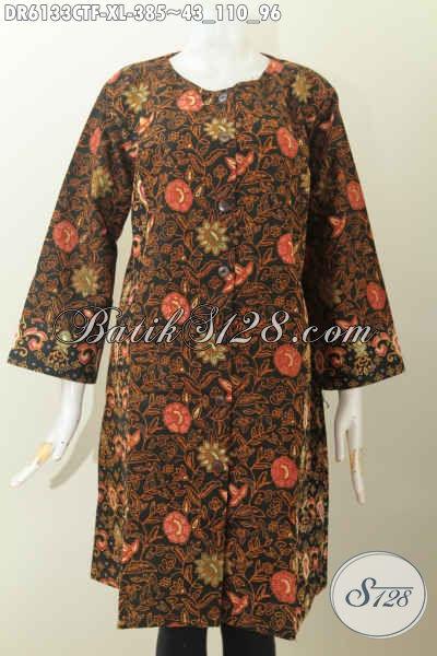 Baju Batik Dual Motif Desainn Tanpa Krah, Dress Batik Mewah Full Tricot Untuk Wanita Dewasa Terlihat Menawan, Size XL