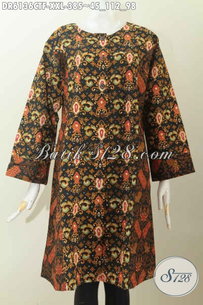 Baju Batik Dress Dual Motif, Busana Batik Elegan Dan Mewah Proses Cap Tulis Dessain Tanpa Krah Daleman Full Furing, Exclusive Buat Cewek Gemuk [DR6136CTF-XXL]