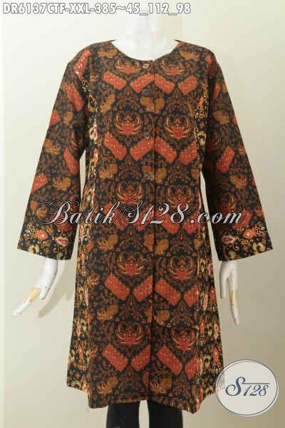 Jual Online Dress Batik Istimewa, Busana Batik 3L Kwalitas Premium Buatan Solo Asli Daleman Full Furing Tampil Lebih Berkelas Size XXL [DR6137CTF-XXL]