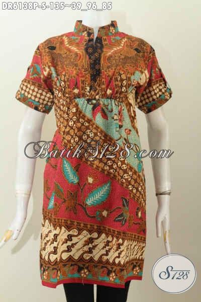 Baju Batik Trendy, Dress Batik Lengan Pendek Motif Klasik Kerah Shanghai Pake Karet Depan Belakang, Tampil Modis Dan Cantik [DR6138P-S]