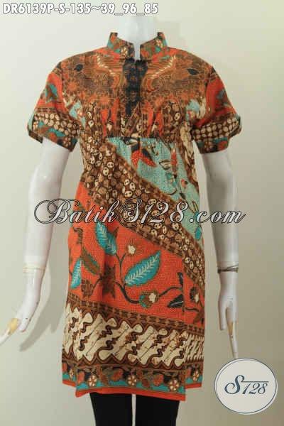 Batik Dress Keren Model Terbaru Pake Karet Depan Belakan, Baju Batik Kerah Shanghai Lengan Pendek Hanya 135K Spesial Untuk Wanita Muda [DR6139P-S]