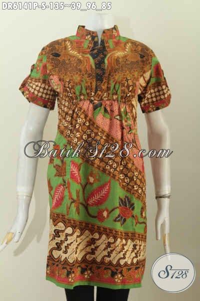 Jual Batik Dress Online, Busana Batik Keren Trendy Motif Klasik Bahan Halus Model Kerah Shanghai Pakai Karet Depan Belakang [DR6141P-S]