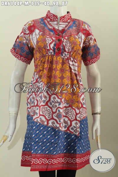 Produk Batik Terkini Motif Bagus Lengan Pendek Untuk Wanita Muda, Dress Batik Pake Karet Depan Belakang Bahan Halus Proses Printing Hanya 100 Ribuan [DR6144P-M]