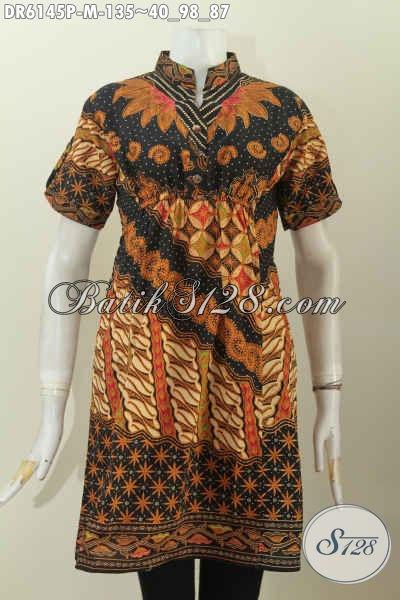 Agen Baju Batik Online Sedia Dress Batik Kerah Shanghai Lengan Pendek Bagus Pake Karet Depan Belakang, Cocok Buat Hangout [DR6145P-M]