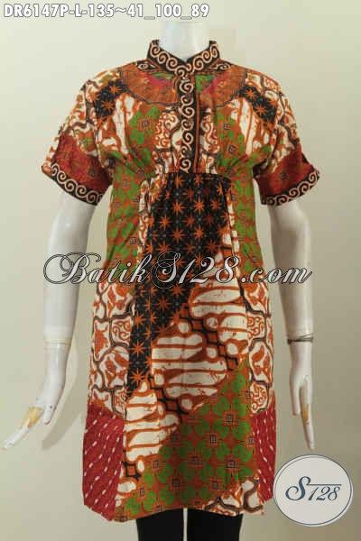 Sedia Pakaian Batik Modis Lengan Pendek Kerah Shanghai, Baju Batik Motif KlasikModel Keren Proses Printing Di Jual Online 135K [DR6147P-L]