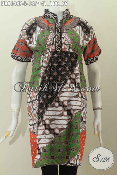 Jual Pakaian Batik Wanita Terkini, Dress Batik Halus Lengan Pendek Proses Printing Motif Bagus Kerah Shanghai Untuk Penampilan Lebih Cetar Membahana, Size L