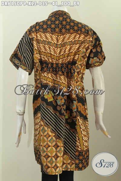 Baju Batik Solo Modern, Pakaian Batik Model Terkini Kerah Shanghai Lengan Pendek Bahan Halus Motif Klasik Printing [DR6150P-XL]
