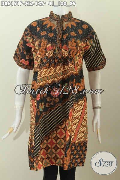 Baju Dress Halus Bahan Batik Printing Motif Elegan Model Terndy Untuk Wanita Dewasa Terlihat Mempesona [DR6151P-XL]